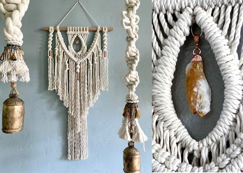Large Macrame Wall Hanging with Crystal Crystal Wall Hanging image 0