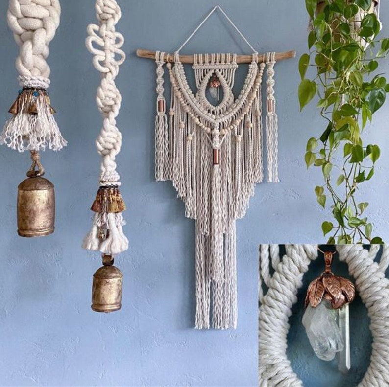 Large Macrame Wall Hanging with Cluster Crystal Crystal Wall image 0