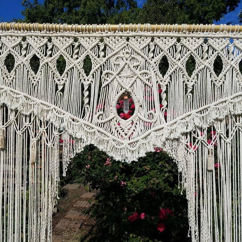 Outdoor Wedding Arch Rental  Macrame Wedding Backdrop Rental image 0