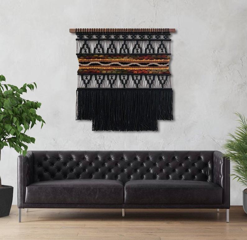 Large Black Macrame Wall Hanging Large Woven Wall Hanging image 0