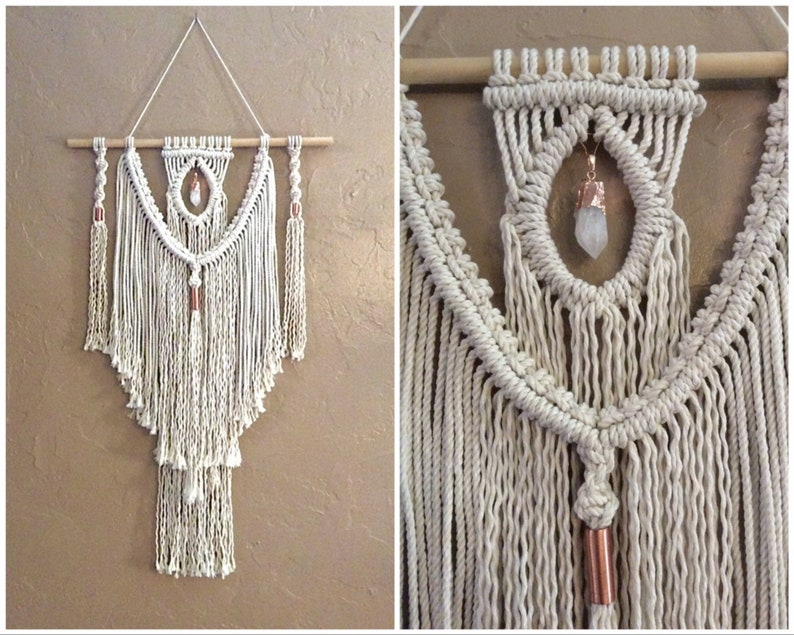 Macrame Wall Hanging with Crystal Crystal Wall Hanging image 0