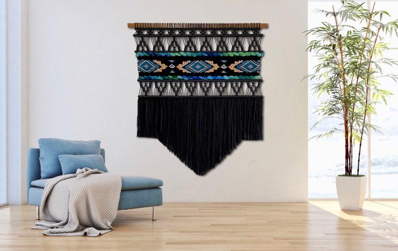 Extra Large Macrame Wall Hanging Large Black Wall Hanging image 0