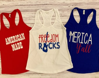 4th of July tank tops, Merica, America, American Made, Fourth of July, tanks, womens tanks, red whit & blue, freedom, freedom rocks, star