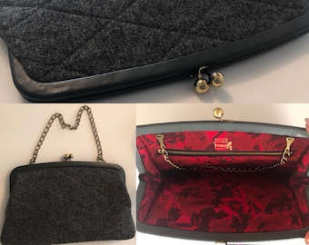 Ingber Quilted A Frame Clutch Purse / Grey Gray Wool & Leather Structured Bag / Red Floral Lining / Oversized Vintage Handbag 1950s / Brass