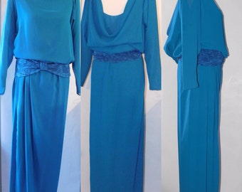 64960df80cc Vintage 1970s Pat Richards Michael Maiello Sheer Teal Chiffon Drop Waist  Gown Sculpture Draped open back Gown Glam M L 6-10 dress 2pc