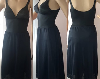 7b7581a43d45a Olga Lingerie 34B Style 392 Black Full Slip Wire Free   A Line   No Seam  Body Silk Vintage Nylon