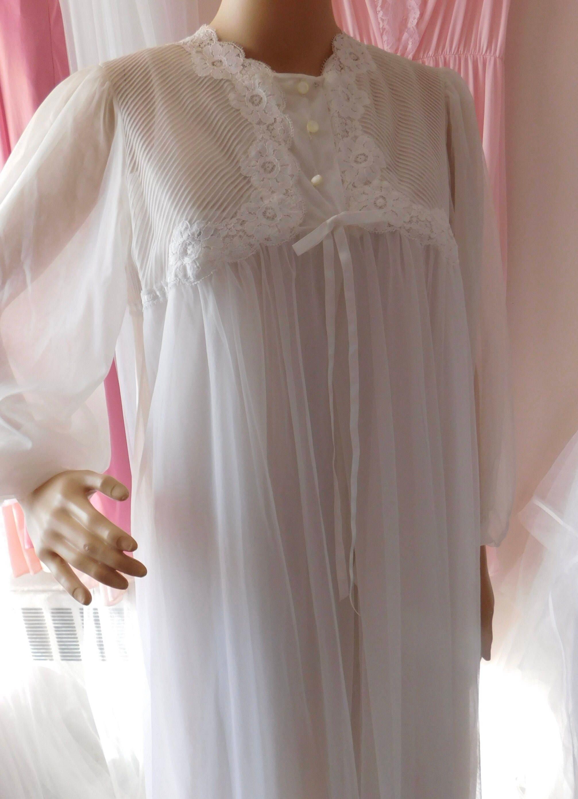 Vintage Lingerie Bridal Peignoir Set Gossard Artemis Medium M Sheer Frothy Multi Layer White Chiffon /& Nylon Long Gown and Robe