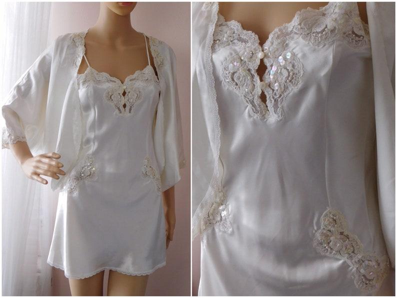 Other Women's Intimates Victorias Secret Women Size Small White Bridal Lingerie Slip Lace Sequin Chiffon