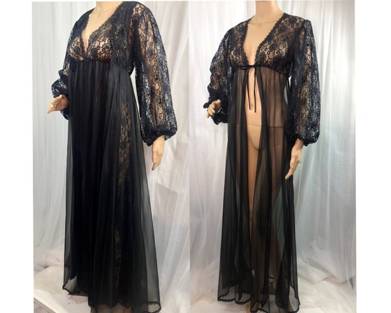 Vintage Sexy Black Lace Peignoir Nightgown Robe Se