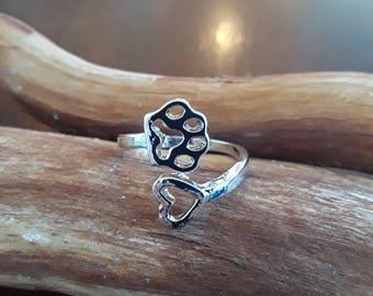 Pet love heart open silver ring