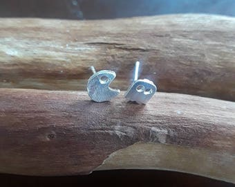 Pac-man and blinky silver stud earrings