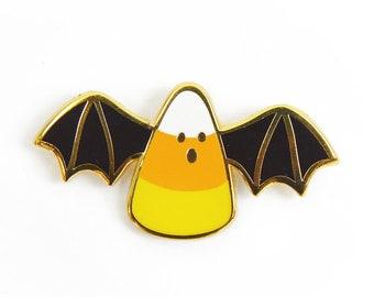 "Candy corn bat enamel pin, halloween enamel pin, hard enamel, cute pin, girl pin, 1.3"" wide"