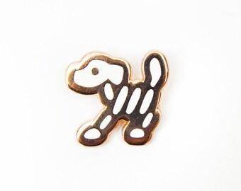 """Skeleton dog enamel pin, halloween enamel pin, hard enamel, cute pin, girl pin, .75"""" tall"""