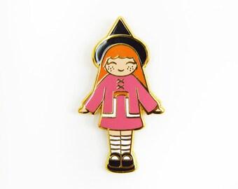 "Witch polly pocket enamel pin, halloween enamel pin, hard enamel, cute pin, girl pin, 1.25"" tall"