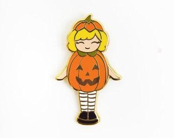 "Pumpkin polly pocket enamel pin, halloween enamel pin, jack-o-lantern, hard enamel, cute pin, girl pin, 1.25"" tall"