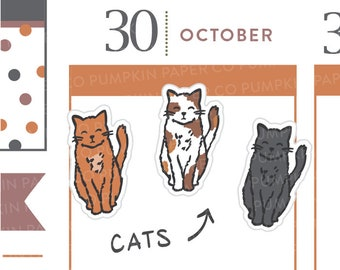 P487 - Cat planner stickers, kitten, animal stickers, black cat, feed cat, pet stickers, calico cat, 36 stickers
