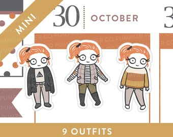 P493 - Fall Outfit planner stickers, autumn planner stickers, sweater, boots, candy corn, harry potter, MINI size, 27 stickers