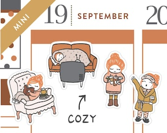 P470 - Fall cozy planner stickers, reading stickers, blanket, nap, autumn stickers, netflix, MINI size, 32 stickers