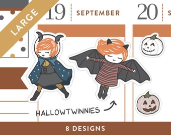 P476 - Large Hallowtwinnies, bat, witch, pumpkin, LARGE size, 20 stickers