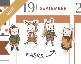 P478 - Masked Friends stickers, halloween costume, woodland creatures, halloween stickers, fall, MINI size, 40 stickers