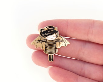 Batty girl enamel pin - Hard enamel pin - Halloween enamel pin