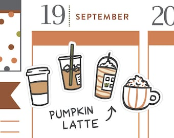 P474 - Pumpkin spice latte stickers, coffee stickers, hot chocolate, halloween stickers, fall, autumn, carmel, 40 stickers