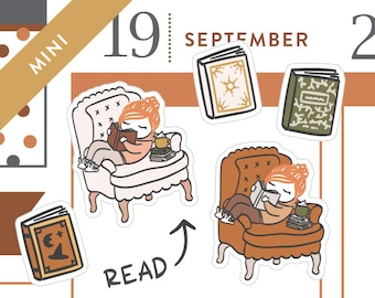 P482 - Fall Cozy reading stickers, fall planner stickers, book stickers, MINI size, 27 stickers