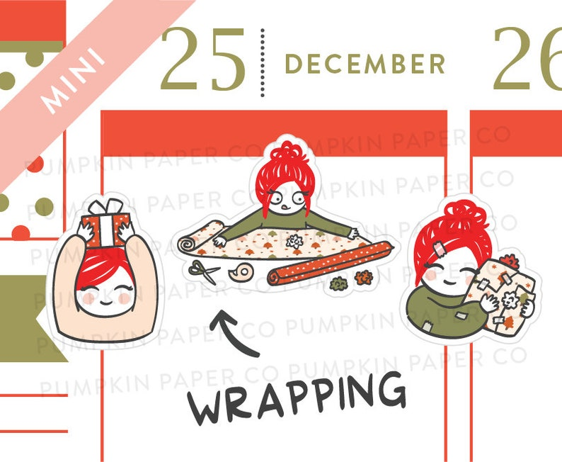 P613  Christmas present planner stickers wrapping presents image 0
