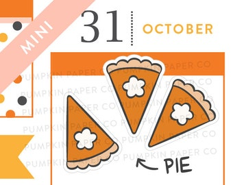 P701 - Pumpkin pie stickers, halloween planner stickers, fall stickers, thanksgiving, food stickers, MINI size, 27 stickers