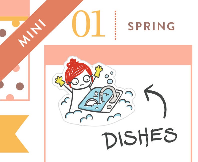 P268  Dishes planner stickers chores stickers to do list image 0