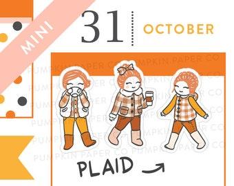 P590 - Fall plaid planner stickers, autumn planner stickers, buffalo plaid, coffee stickers, psl, pumpkin spice, MINI size, 30 stickers
