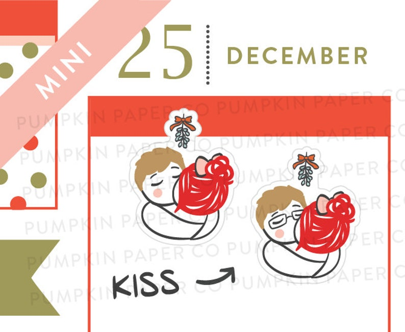P623  Couples kissing planner stickers mistletoe stickers image 0