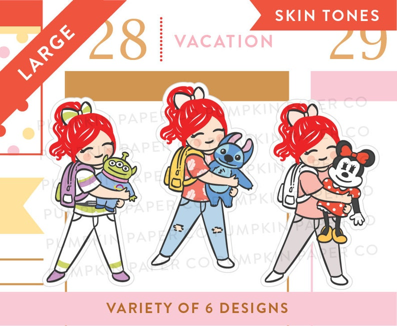 P663  Cute girl planner stickers character stickers disney image 0