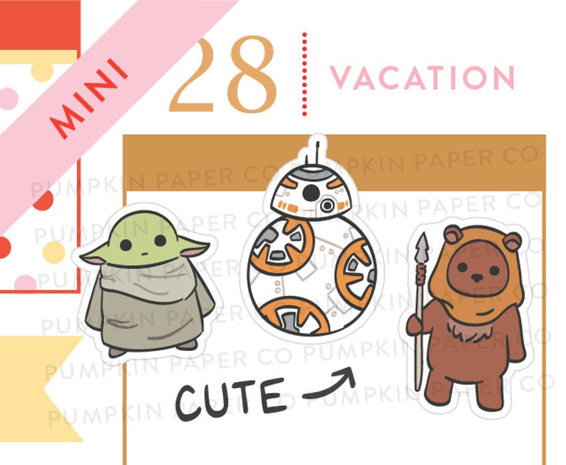 P656  Baby yoda stickers star wars inspired stickers bb8 image 0