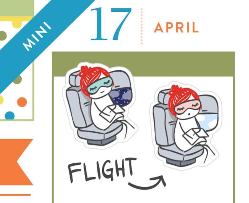 P463 - Flight planner stickers, airplane stickers, travel stickers,  airport, summer stickers, sleep stickers, 18 stickers, MINI size