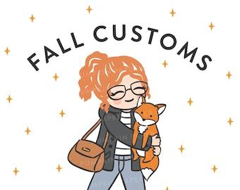 Fall Customs - custom character drawing - DIGITAL ITEM - 2 portrait styles - Batch 1
