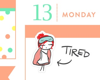 P011 - Morning stickers, tired stickers, morning person, planner stickers, sick day stickers, lazy stickers, MINI size, 24 stickers