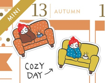 P008 - Cozy couch planner stickers, snuggle stickers, sick day stickers, coffee stickers, hot chocolate, rainy day, MINI size, 15 stickers
