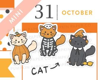 P681 - Halloween cat planner stickers, costume stickers, pumpkin, skeleton, ghost, witch, halloween planner, MINIE size, 21 stickers
