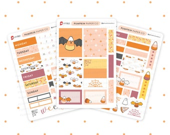 P702 - Candy Corn Bat sticker kit, halloween weekly kit, trick or treat, vertical boxes, halloween candy, halloween stickers, 3 pages