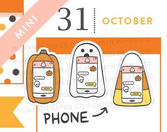 P682 - Halloween phone stickers, planner stickers, ghost sticker, candy corn, pumpkin, fall stickers, text, message, MINI size, 24 stickers