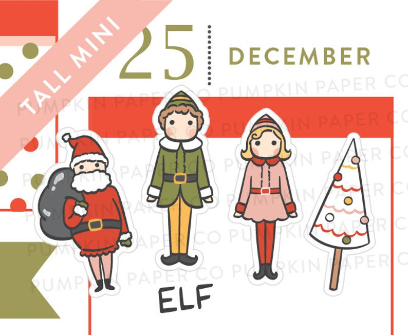 P626  Christmas elf stickers planner stickers holiday image 0