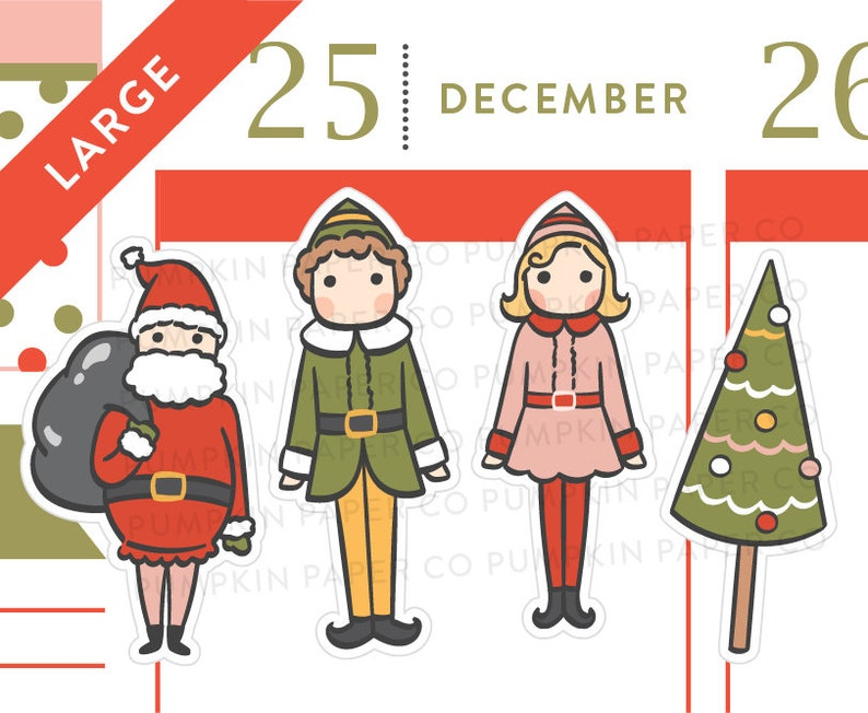 P627  Christmas elf stickers planner stickers holiday image 0