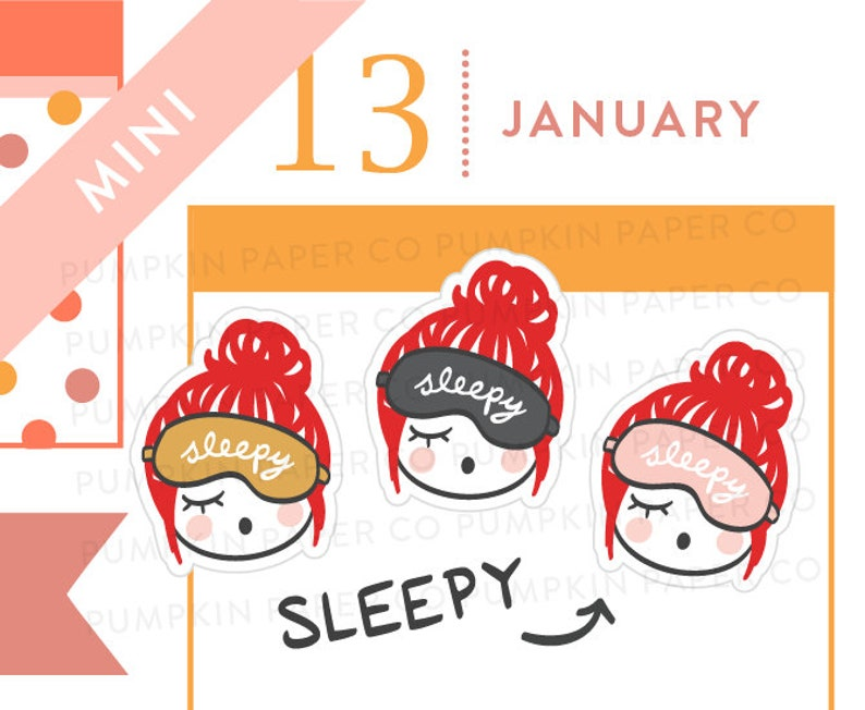 P639  Sleepy planner stickers nap stickers tired stickers image 0
