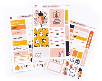 P598 - Planner Witch sticker kit, planner weekly kit, vertical boxes, halloween kit, halloween stickers, headers, 3 pages