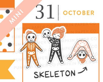 P597 - Skeleton girl stickers, halloween planner stickers, trick or treat, halloween costume, spooky, witch, autumn, MINI size, 24 stickers
