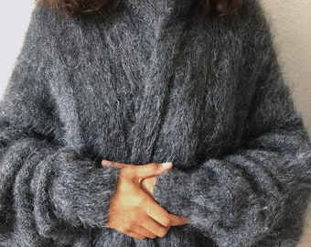 SNUG Grey Mohair Cardigan/Kimono