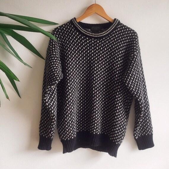 Vintage Navy Blue Sweater, 100% Wool
