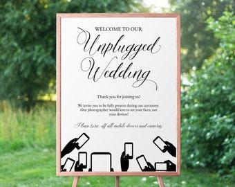 Unplugged Wedding Sign Unplugged ceremony Sign No   Etsy