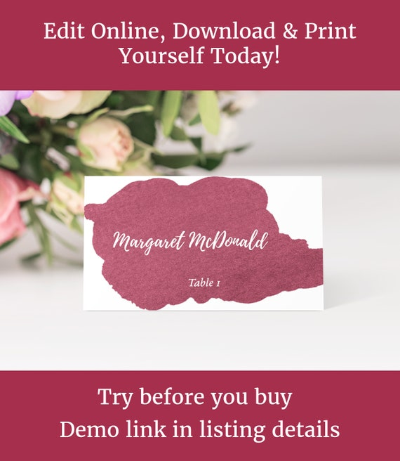 Wedding Place Cards Escort Cards Table Name Cards Burgundy Watercolor Flat And Tent Folded Diy Edit Online Download And Print
